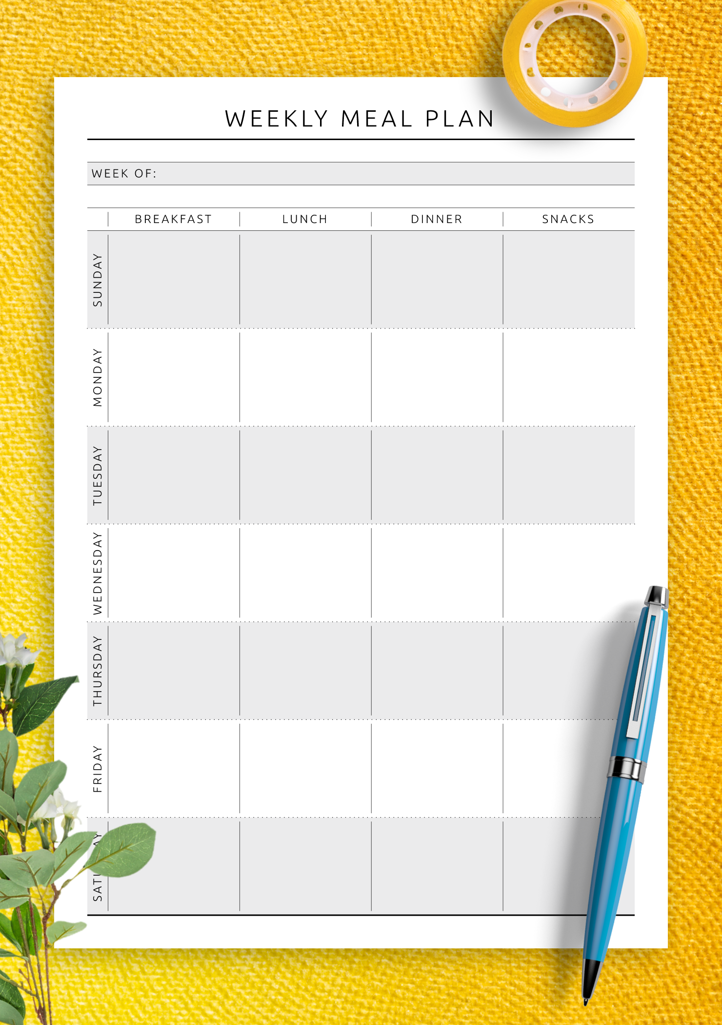 photograph regarding Free Printable Weekly Meal Planner referred to as Absolutely free Printable Weekly Dinner System - Primary Layout PDF Down load