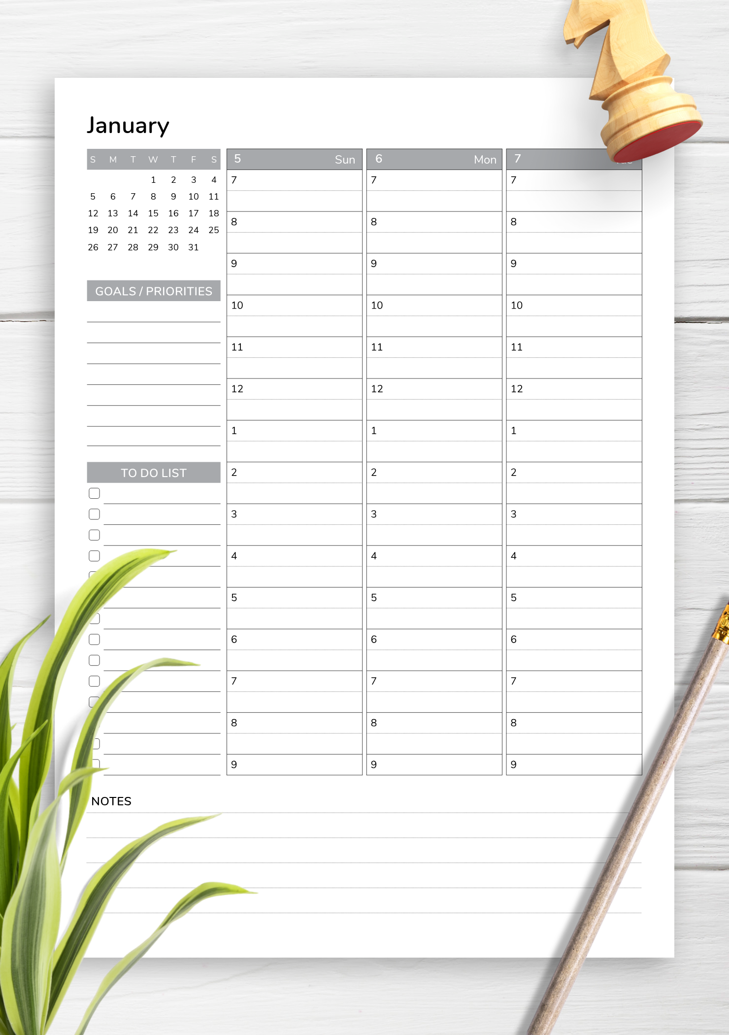 photograph about Free Printable Planners titled Cost-free Printable Weekly planner with ambitions and priorities PDF