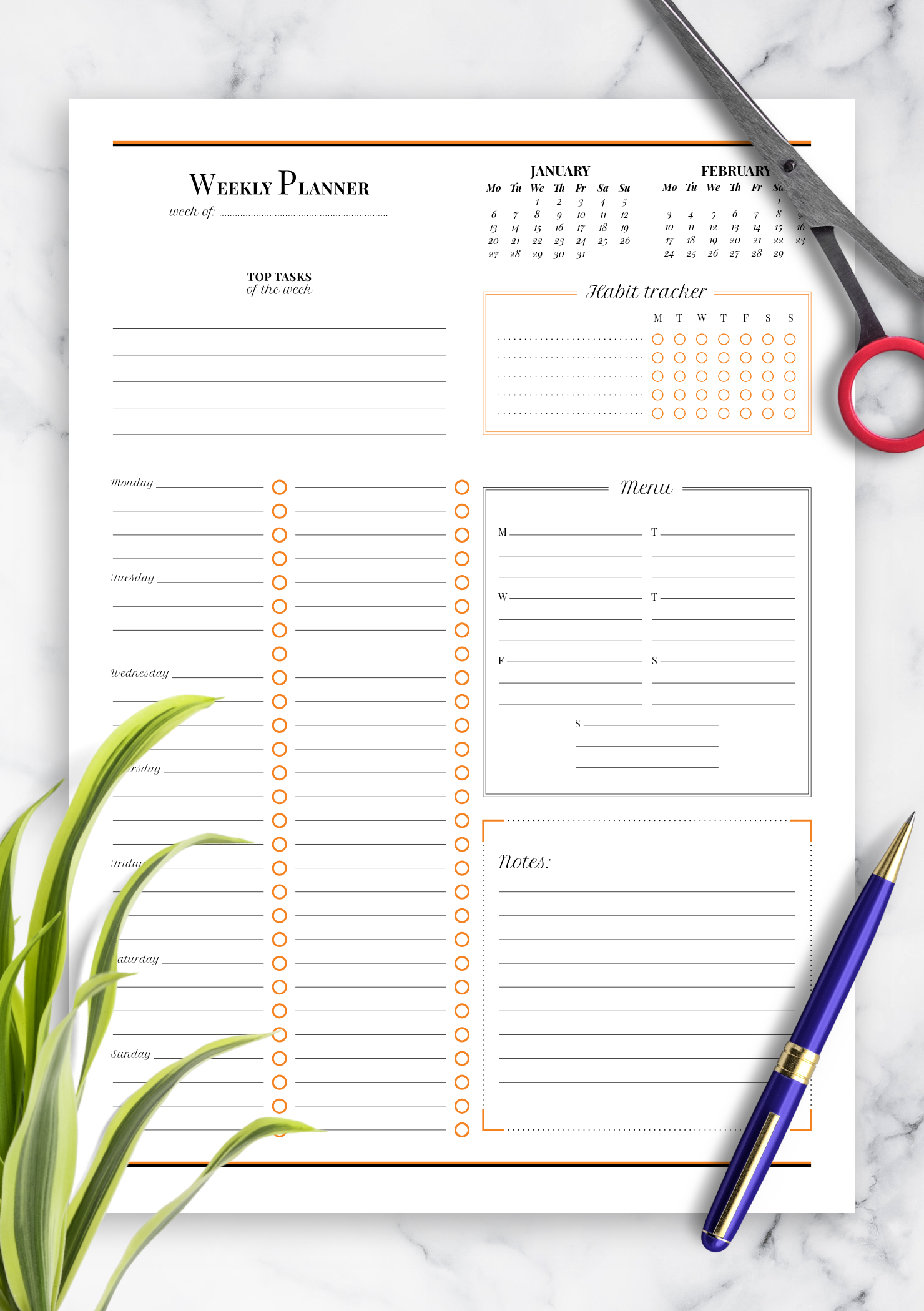 image relating to Habit Tracker Printable Free called Cost-free Printable Weekly planner with routine tracker PDF Down load