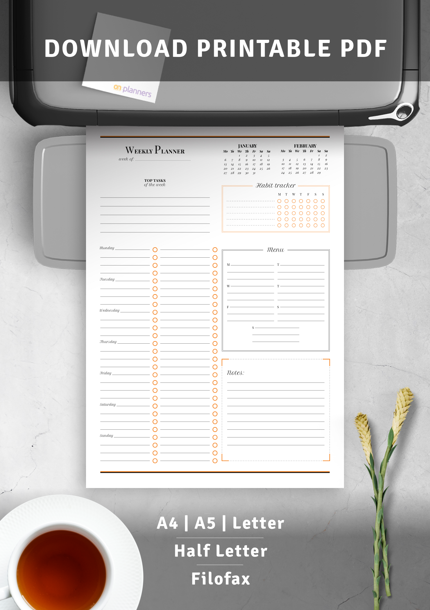 Download Printable Weekly Planner With Habit Tracker Pdf