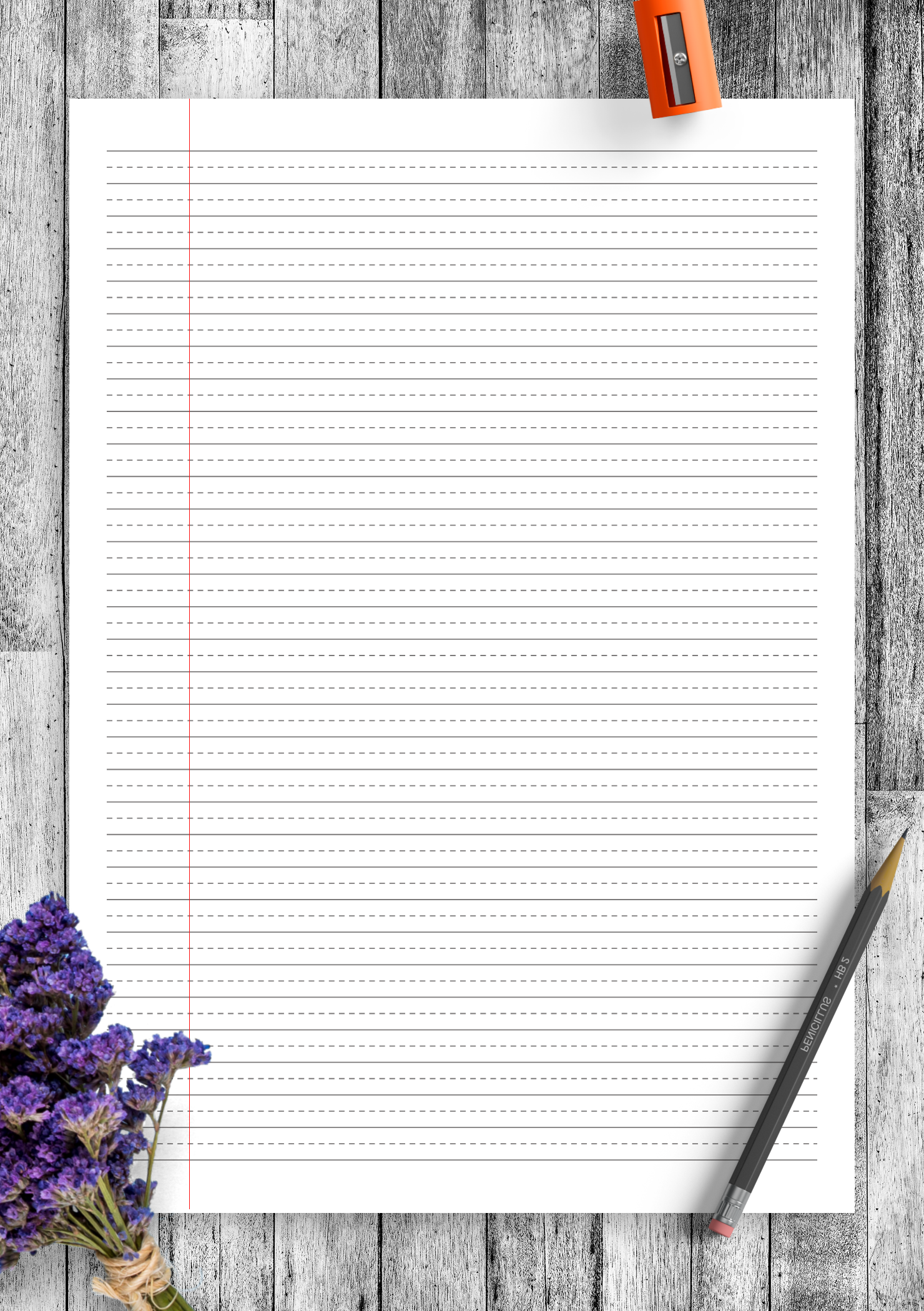 Download Printable Wide Ruled With Dashed Center Guide Line