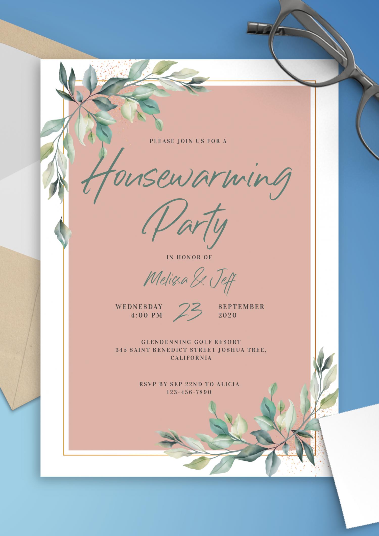 download printable willow branch housewarming invitation pdf