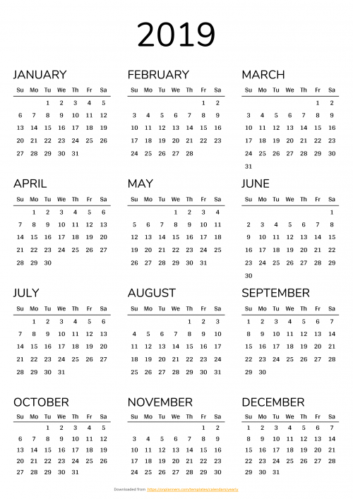 2020 Printable Yearly Calendar.Printable Calendars Download Pdf