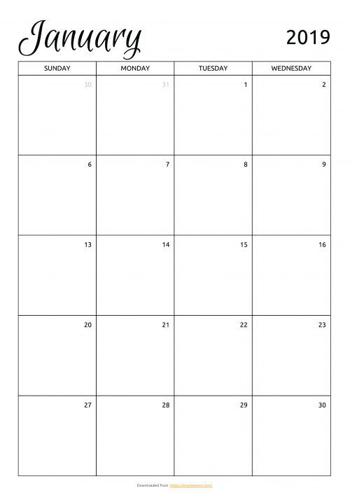 photograph about Printable Monthly Calendars called No cost Month-to-month Calendar Template. Down load Printable PDF: A4