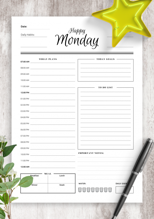 photograph about Free Organization Printables for College Students named Every day Planner Templates Printable - Obtain Free of charge PDF