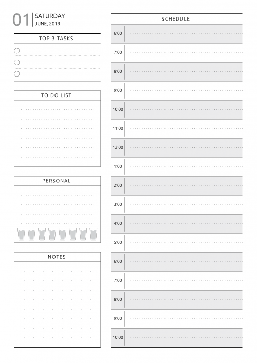 image relating to Weekly Schedule Template Printable referred to as Cost-free Day by day Planner Template