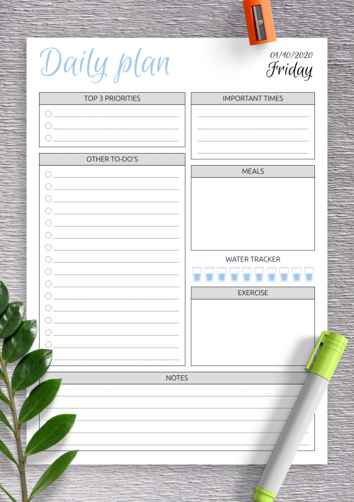 Template Daily Schedule from onplanners.com