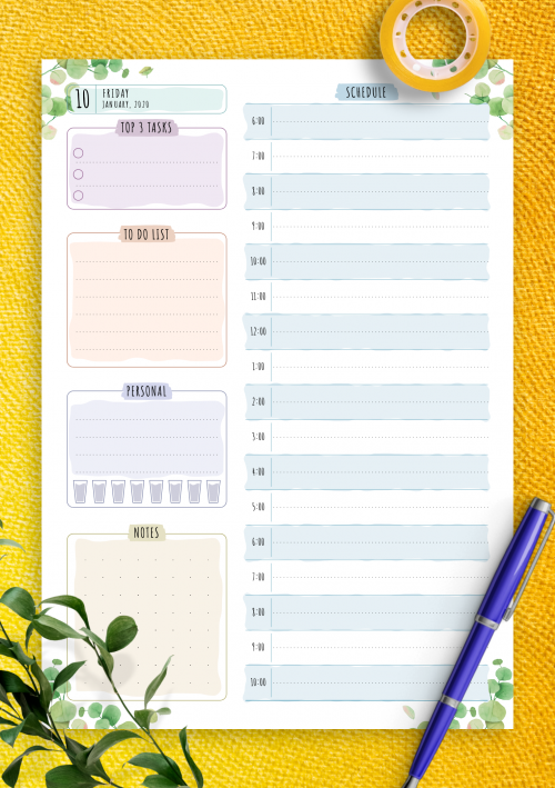 Task Planner Template from onplanners.com