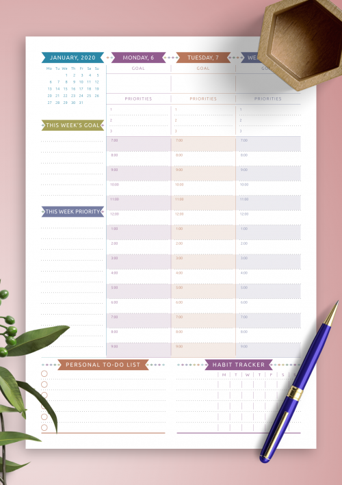 photo about Weekly Planning Sheets named Printable Weekly Planner Templates - Obtain No cost PDF