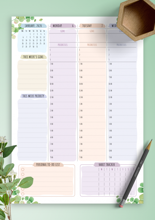 photo regarding Weekly Planning Sheets known as Printable Weekly Planner Templates - Obtain No cost PDF
