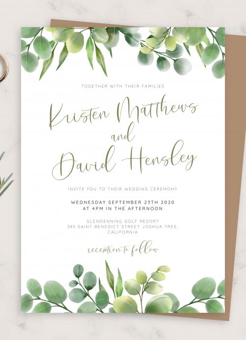 DG19 Wedding Invitation Template Download Printable Invitations Editable Invitation Green Wedding Invitation Floral Boho Wedding Invite DIY