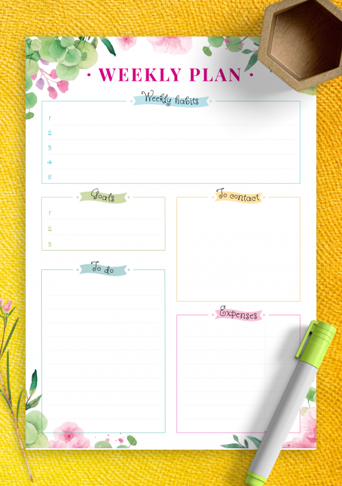 photograph relating to Free Weekly Planner Printable called Printable Weekly Planner Templates - Obtain No cost PDF