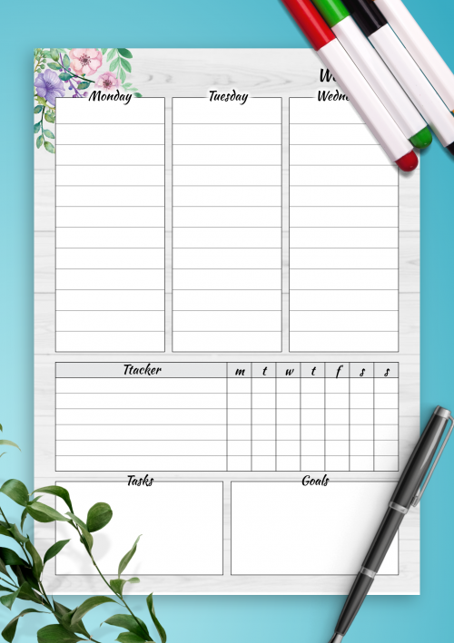 graphic relating to Weekly Planning Sheets named Printable Weekly Planner Templates - Down load Absolutely free PDF