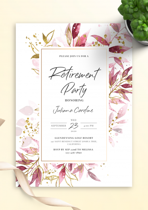 Rustic Editable Template Retirement Party Invitation Instant Download Retirement Invitation For Woman Invite Pink And Gold Floral