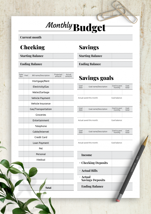 Printable Budget Templates Download Pdf A4 A5 Letter Size