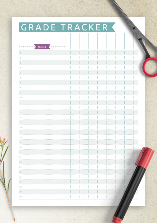 image relating to Grade Tracker Printable identified as Absolutely free Printable Gradebook Template - Informal Structure PDF Down load