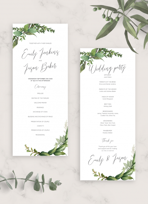 botanical garden outdoor wedding program program for spring wedding {Dainty design} Floral wedding program artistic wedding program