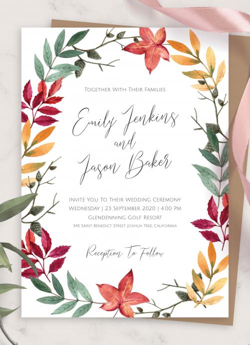 Fall Wedding Invitations Templates Designs