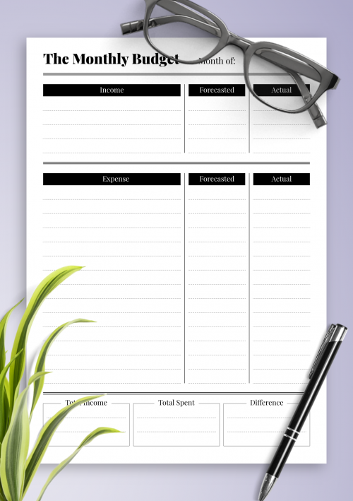 photo regarding Printable Budget Template called Totally free Printable Funds Templates - Down load PDF A4, A5