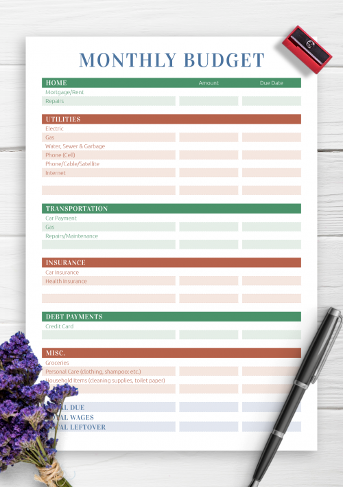 photograph about Free Printable Personal Budget Template identify No cost Printable Spending budget Templates - Obtain PDF A4, A5
