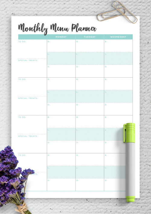 Monthly Meal Planner Template from onplanners.com