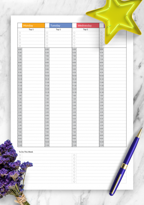 photograph relating to Weekly Planning Sheets titled Printable Weekly Planner Templates - Down load Totally free PDF