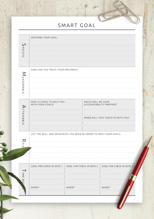 Printable Smart Goal Setting Templates Download Pdf