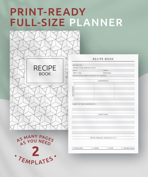 Recipe Journal Template from onplanners.com