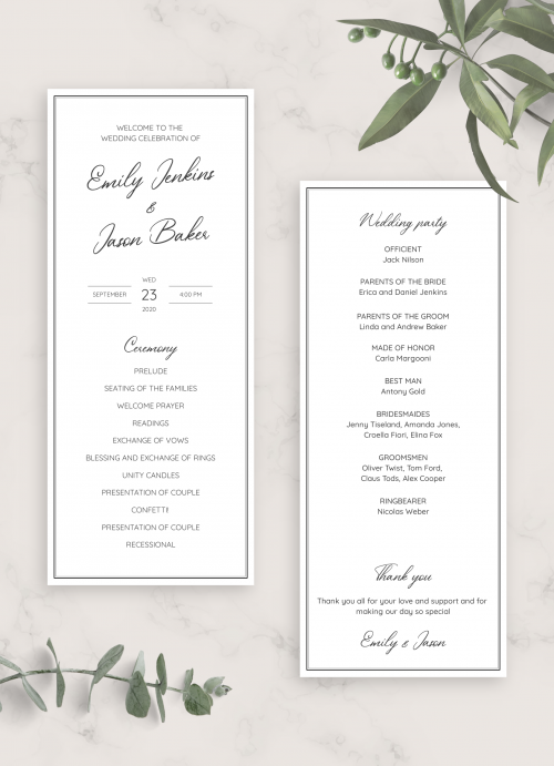 Wedding Program Templates - Download or Order prints