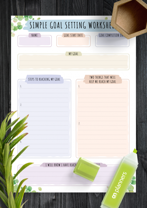 Goal Tracking Template from onplanners.com