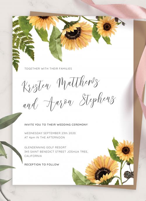 Sunflower Heart   Wedding  Invitation Package Editable Download