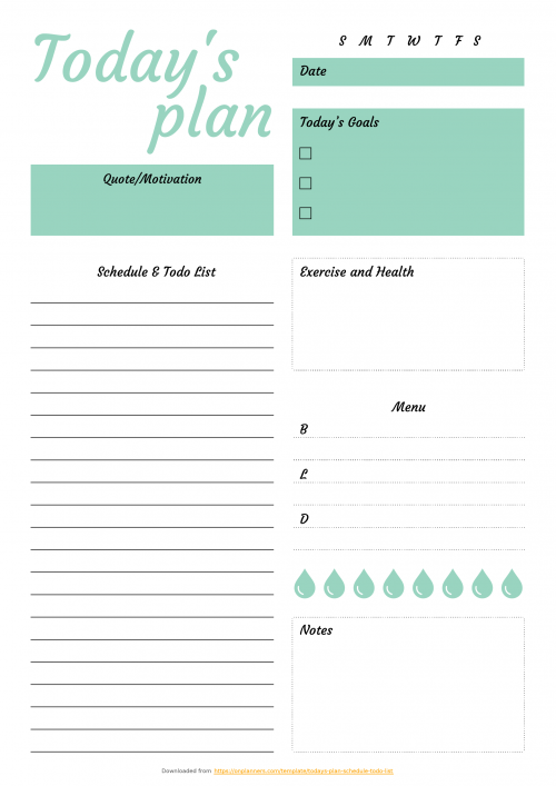 Free Printable Daily Plan with to-do list & important times