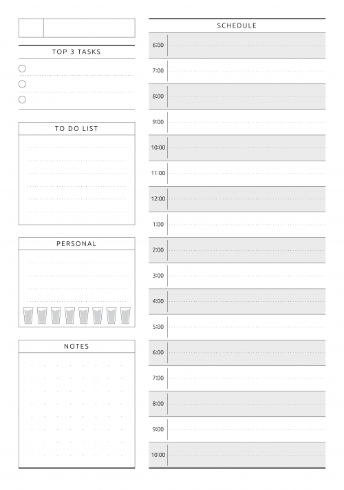 Daily Planner Templates Printable - Download Free PDF