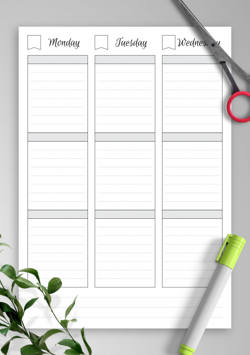 image regarding Weekly Schedule Printable named Printable Weekly Planner Templates - Down load No cost PDF