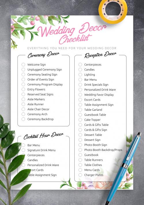 Checklist For Wedding.Free Printable Wedding Decor Checklist Pdf Download