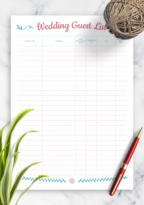 Download Printable Wedding Guest List With Gift Section Pdf