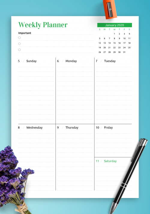 image about Week Planner Printable identified as Printable Weekly Planner Templates - Down load No cost PDF