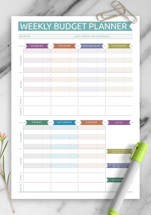 Printable Budget Templates - Download PDF A4, A5, Letter size