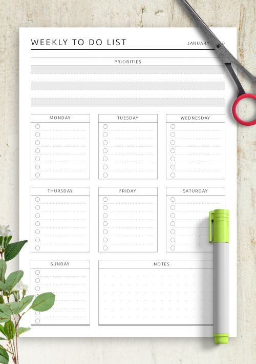 Printable List Template from onplanners.com