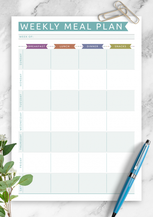 photo relating to Weekly Meal Planner Printable titled No cost Printable Supper Planner Templates - Down load PDF