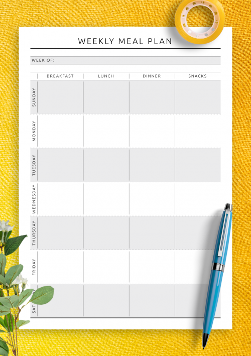 photograph relating to Meal Planning Printable known as Totally free Printable Dinner Planner Templates - Down load PDF