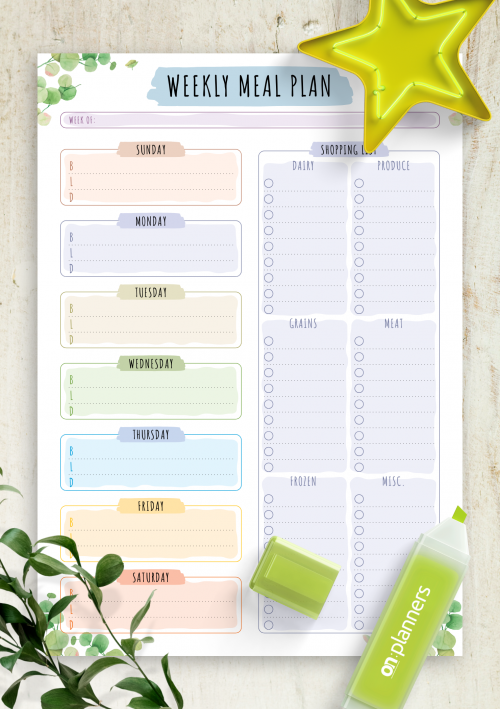 Download Printable Colorful Weekly Meal Planner With Grocery