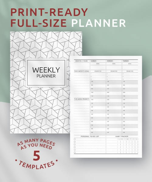 photograph relating to Full Focus Planner Pdf referred to as Printable Weekly Planner Templates - Down load No cost PDF