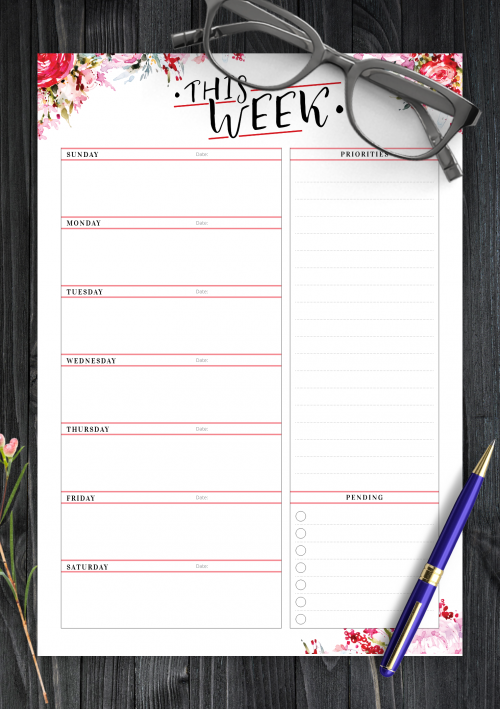photograph regarding Weekly Plans Template called Printable Weekly Planner Templates - Down load Cost-free PDF