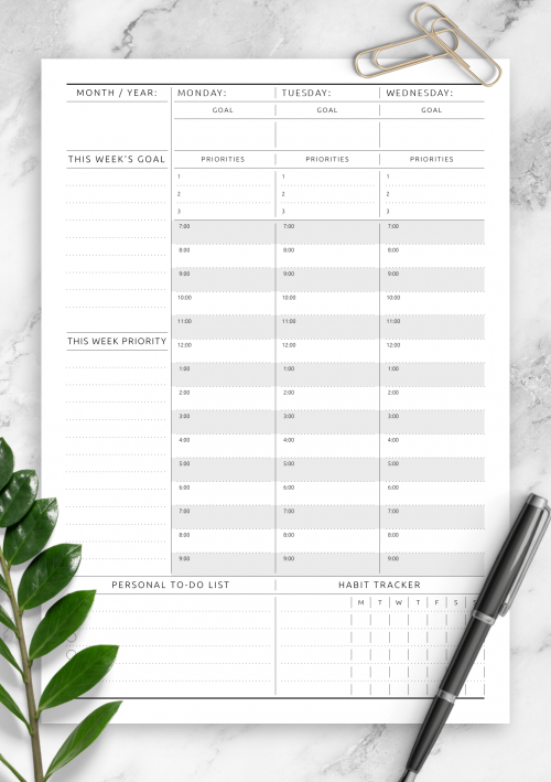 graphic regarding Blank Weekly Schedule Pdf titled Printable Weekly Planner Templates - Down load No cost PDF