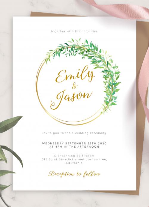 DIGITAL PRINTABLE Printed Invitations Wedding Templates Botanical Leaves Wedding Invitation Set Printable Invitation