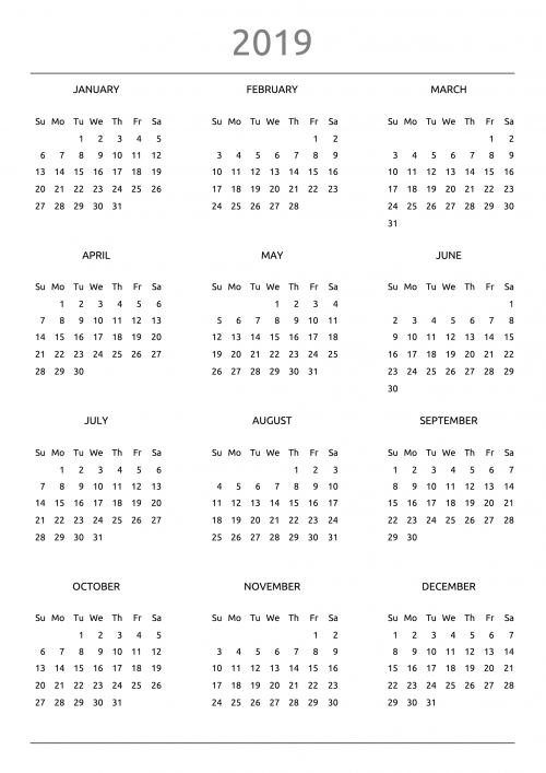2019-2020 Printable calendar for 2 years