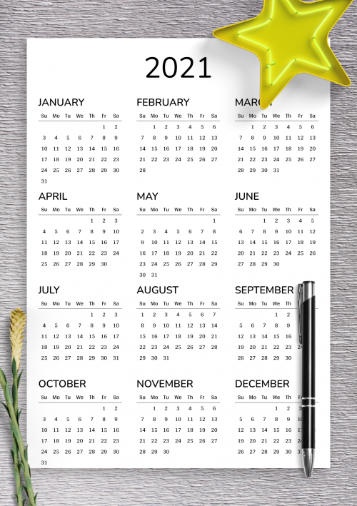 2021 2022 Printable calendar for 2 years