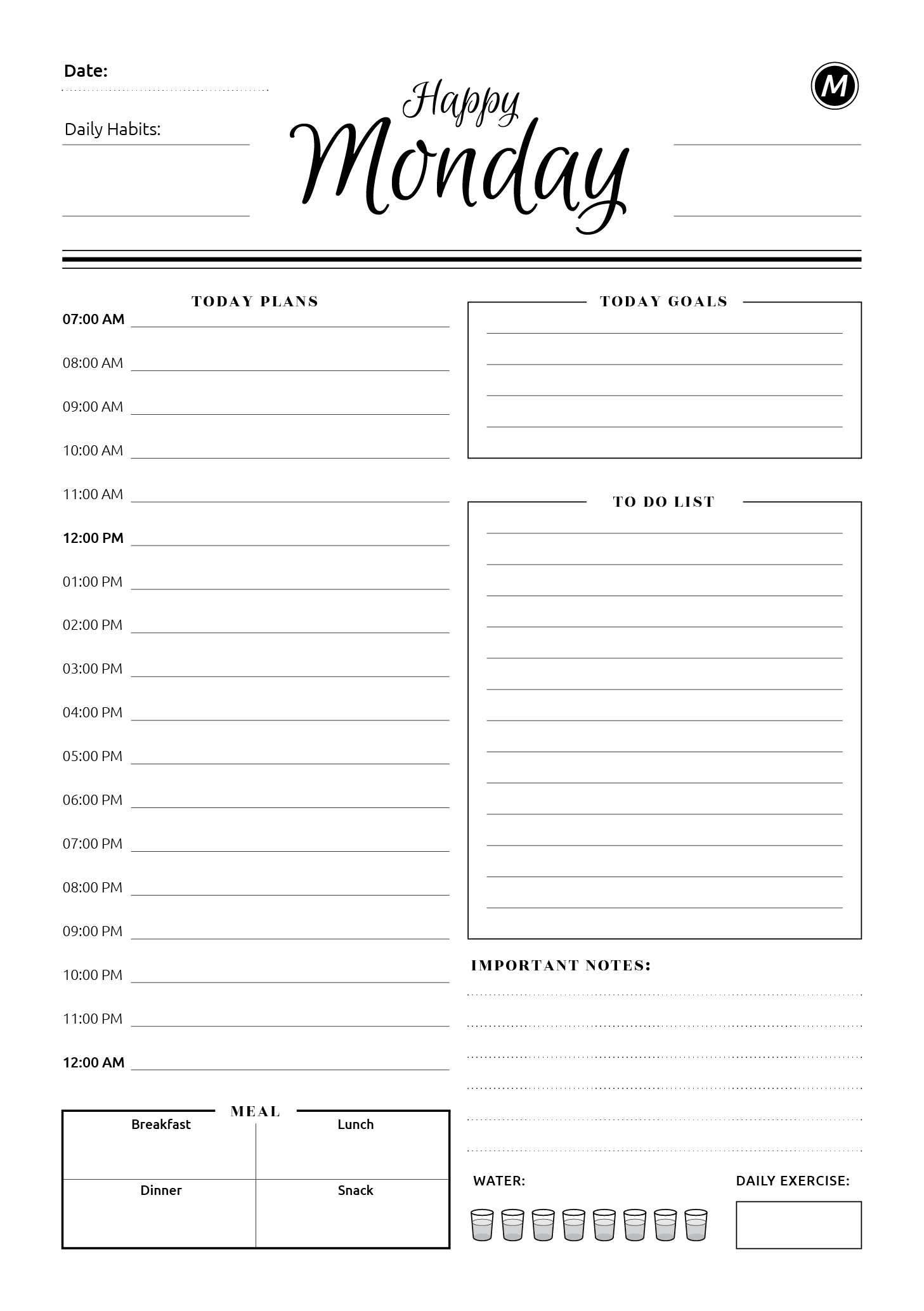 7 happy days planner template