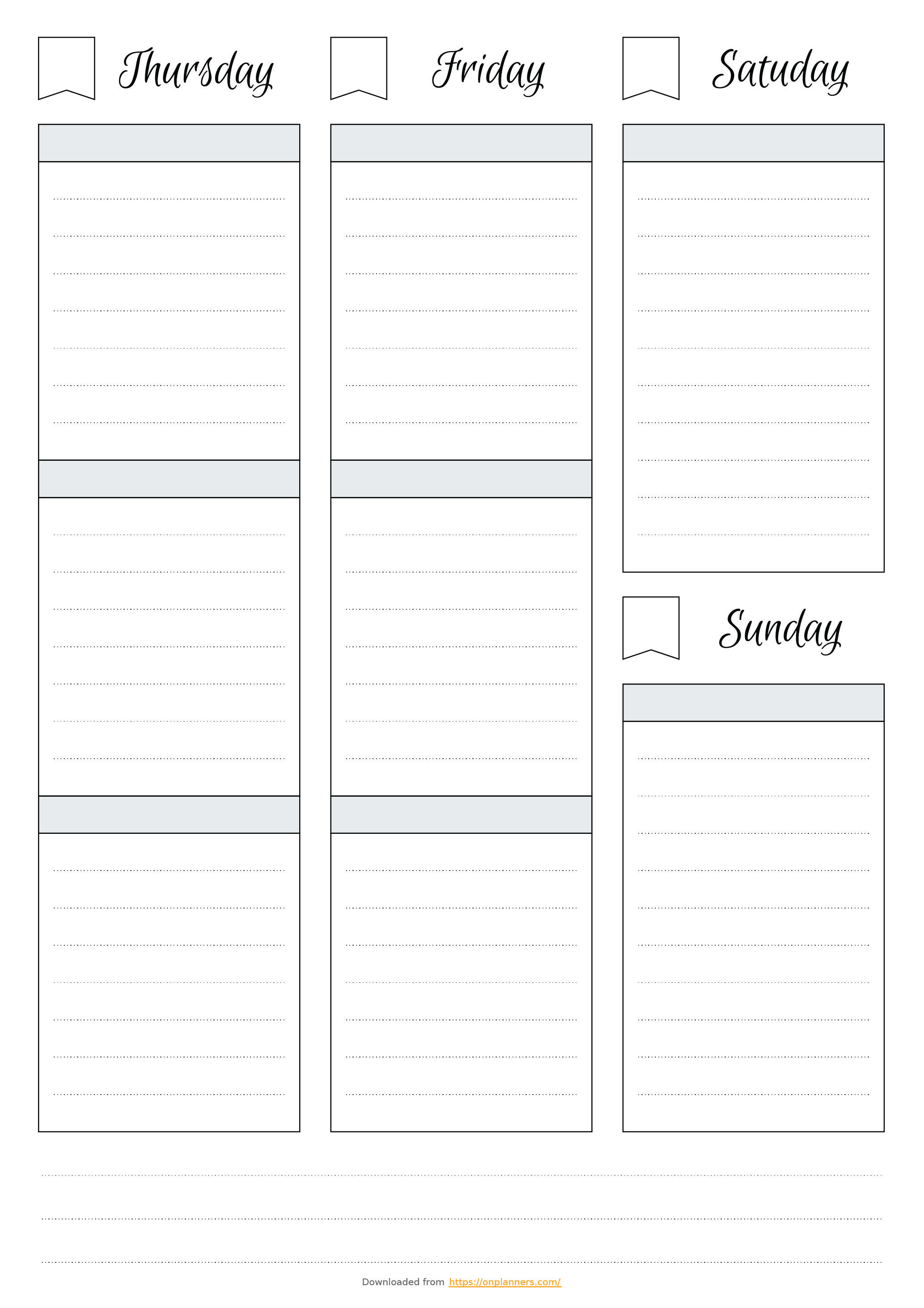 simple weekly schedule template